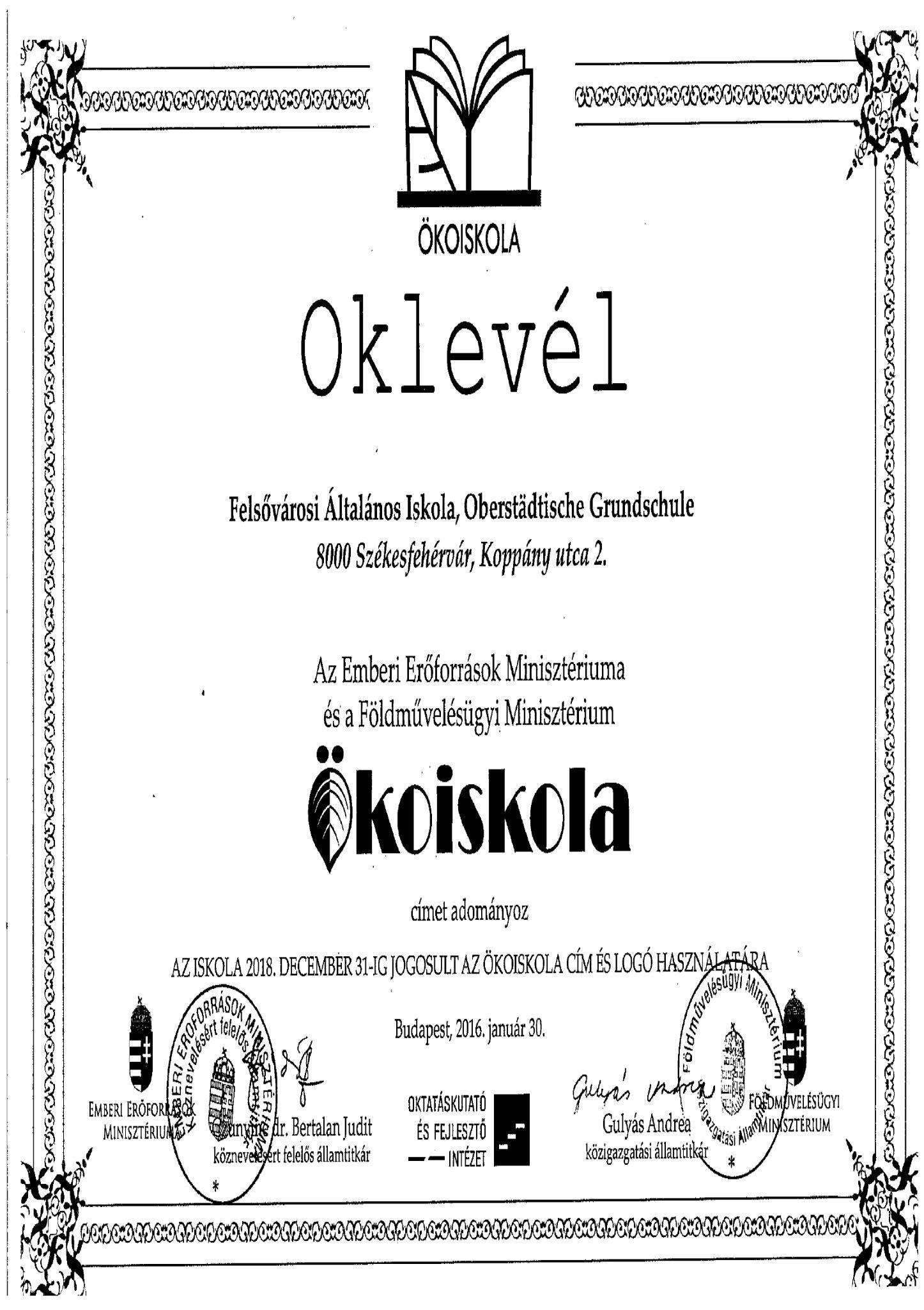 oklevél-ökoiskola